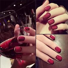 24pcs Red Fake Fingernail tips Short False Nail Acrylic Full Cover Nail Art №[