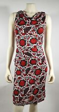 BALENCIAGA Red Floral Stretch Knit Draped Summer Dress - size 4 Gossip Girl