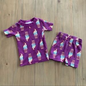 Hanna Andersson Purple Ice Cream Cone Pajama Set Girls Size 2 Summer Spring