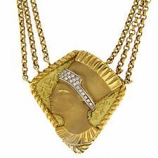 Collar Regina Egipto ORO Amarillo 18 ct 750 DIAMANTES talla Brillante Egipcia