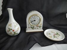 Wedgwood Bone China Wild Strawberry Small Dome Mantle Clock, Trinket Tray & Vase