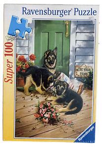 Linda Picken Art - Wipe Your Paws - 2002 Ravensburger 100 Piece Dog Puzzle