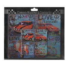Rouge Voiture Design Tapis de souris d'ordinateur et coaster set