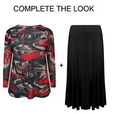 Übergrößen Damen Rundhals Qualität Bedruckt Top mit Hose oder Rock - 1001