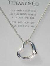 Tiffany & Co Elsa Peretti 22mm Open Heart Sterling Silver Pendant Necklace