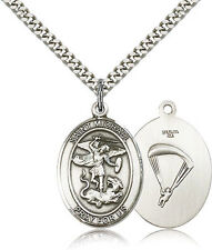 "CATHOLIC SAINT MICHAEL - PARATROOPER - ""PEWTER""   Medal 24"" Heavy Chain"