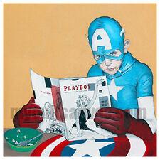 "Original ""Good Morning America""  Comic Art Print Captain America Playboy Cereal"
