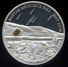 Palau 2006 Second Meteorite Insert Coin Issued Nantan China $5 Silver Proof COA
