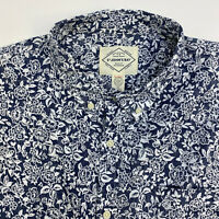 St Johns Bay Button Up Shirt Mens XXL Blue White Floral Short Sleeve Casual