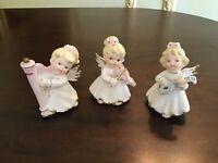 VINTAGE LEFTON SET of 3 BLONDE ANGELS with MUSICAL INSTRUMENTS #1592