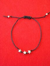Silver Stars Friendship Bracelet - Adjustable - Choice of Colour Cord