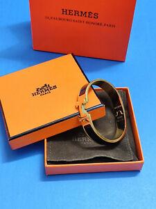 W/Box HERMES Enamel Bracelet Classic Clic Clac H Bangle Black PM