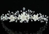 Bridal Wedding Handmade Ivory Pearl Flower Crystal Tiara CT1426