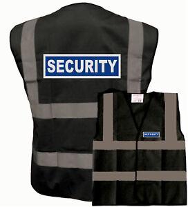 SECURITY Black Reflective Vest Hi Visibility Viz Printed Front Back 8 Sizes