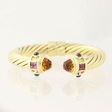 "David Yurman 10mm Renaissance Cuff Bracelet 6 1/4"" - 18k Gold Citrine Tourmaline"