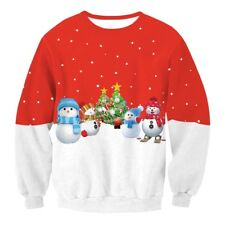 Unisex Womens Christmas Pattern Knitted Santa Clause Sweater Tops Jumper AUS