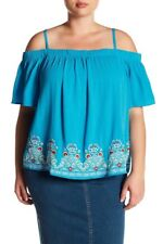 A. BYER Womens Blue Cold Shoulder Embroidred Rayon Top Summer Plus 3X NWT
