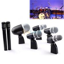 7pc Drum Mic Microphone Wired Drum Kit For Bass/Tom/Snare/Overhead +Mounts