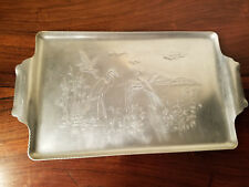 Vintage Admiration Pruducts Corp. N.Y. Hammered Cranes Aluminum Serving Tray