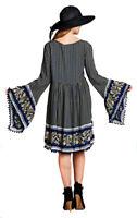 VELEZRA Womens Flowy Chic Boho Pheasant Bohemian Long Bell Sleeve Dress S M L