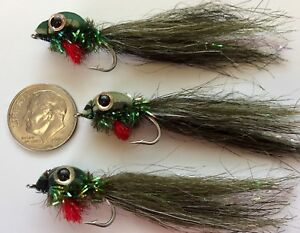 (3) TOP WATER TADPOLE FLIES. FLY FISHING TROUT, BASS. FROG POLLY WOG #6 HOOK