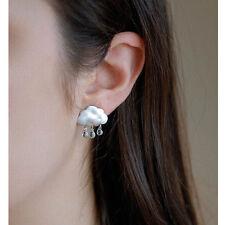 1 Pair Womens Lady Elegant Dangle Crystal White Cloud Dangle Ear Stud Earrings