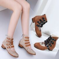 Women Buckle Ankle Boots New Round Toe Chunky Med Heel Block Zipper Strap Shoes
