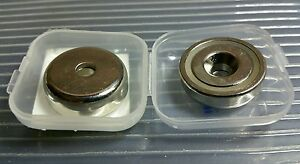 """2 Neodymium 1"""" Cup Magnets. Super Strong Rare Earth Countersunk Pull Force 37lb"""