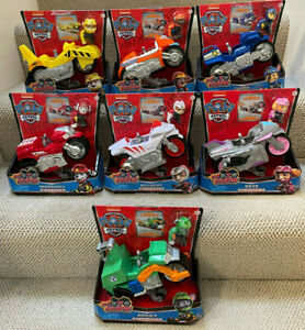 Lot of 7 PAW Patrol Moto Pups WILDCAT SKYE ROCKY CHASE RUBBLE Deluxe Motorcycles