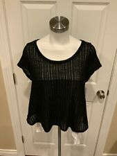 Meadow Rue Anthropologie Black Knit Top w/ Layered White Shirt, Size Medium