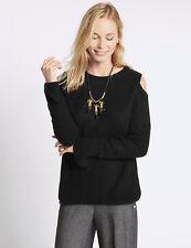 BNWT M&S Collection Black Ribbed Cold Shoulder Jumper Size 10