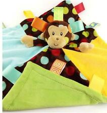 Monkey Rattle+Tags Baby Security Snuggles Soothing Comforter Blanket Blankie