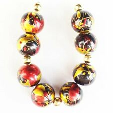8Pcs/Set 10mm Black Red Gold Titanium Crystal Ball Pendant Bead S13277