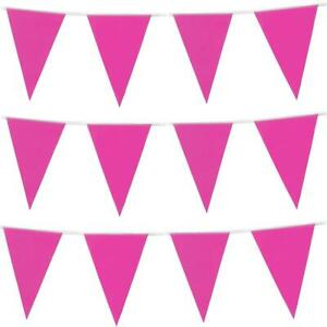 Hot Pink Plastic Bunting 10M Baby Shower Decorations Party Girl Garland Garden