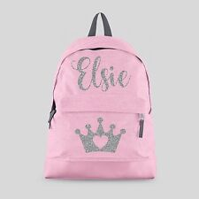 Personalised Kids Backpack - Any Name Crown Tiara Girls Back To School Bag #CBPT