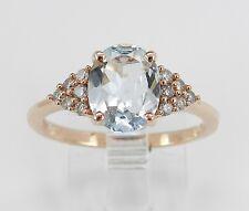 14K Rose Pink Gold Diamond and Aqua Aquamarine Engagement Promise Ring Size 7