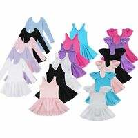 Kids Girls Gymnastics Leotard Dress Ballet Dance Tutu Skirt Dancewear Costume