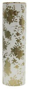 41cm Tall Ceramic Cylinder vase - White & Gold Floral Design Flower Vase