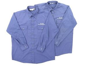 """Lot of (2) Men XL 53"""" Delta Aircraft Maintenance Long Sleeve Button Shirt Blue"""