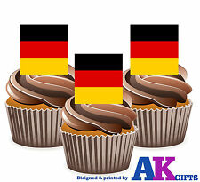 Germany German Deutschland Flag -12 Edible Wafer Cake Toppers Decorations Party