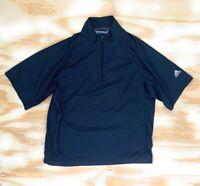 Adidas Mens Climaproof Golf Jacket Black Mesh Lined Zip Short Sleeve Mock Neck M