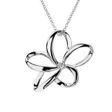 Sterling Silver flower Fine Diamond Necklaces & Pendants