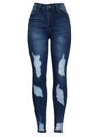 New Ladies High waist Blue Ankle Distressed Ripped Stretch Skinny Fit Denim Jean