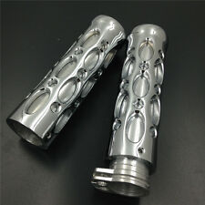 "Motorcycle Hole Hollow shape 1"" Hand Grips for Harly Davidson CHROMED"