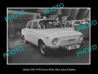 OLD LARGE HISTORIC PHOTO OF SKODA 110L GENEVA MOTOR SHOW LAUNCH DISPLAY 1970 1