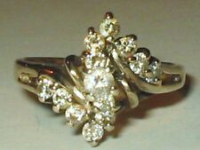 925 Sterling Gold Plate Cluster Cubic Zirconia Cz Wedding Bypass Ring Size 8.5