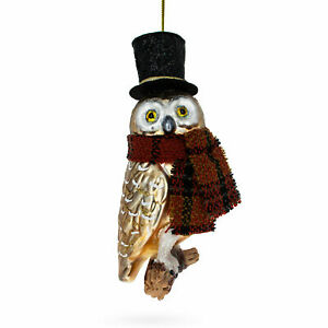 Owl in Black Hat and Scarf Glass Christmas Ornament 5.5 Inches (139.7 mm)