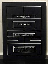 Catalogue Vente 1979 Drouot Rive Gauche Salle N°1 Tapis D'ORIENT Mtre P.Cornette
