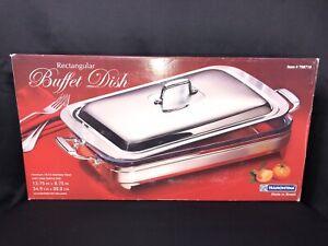 "NEW! Tramontina BUFFET DISH w/ Cover Stainless Steel & Glass Dish 13"" x 9"" NIB"