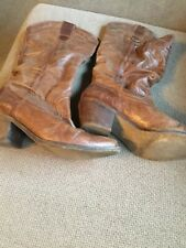 Ladies Brown Faux Leather Boots Size 5